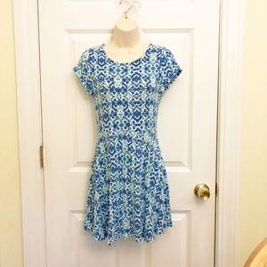 Jersey Knit Dress Blue Aqua White XL Super Comfy